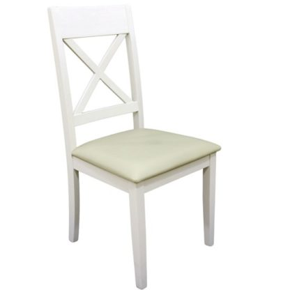 An Image of Ohio Cross Back Padded Dining Chair In Painted White