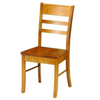 An Image of Elbeni Wooden Dining Chair In Honey Pine Lacquer Finish