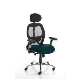 An Image of Coleen Home Office Chair In Kingfisher With Castors
