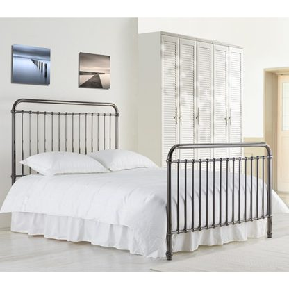An Image of Rose Classic Metal King Size Bed In Black Nickel