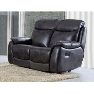 An Image of Canton Recliner 2 Seater Sofa In Grey Faux Leather
