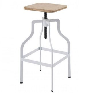 An Image of Andora Bar Stool In White With Wooden Seat