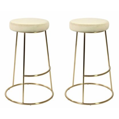An Image of Opera Champagne Finish Bar Stool In Pair