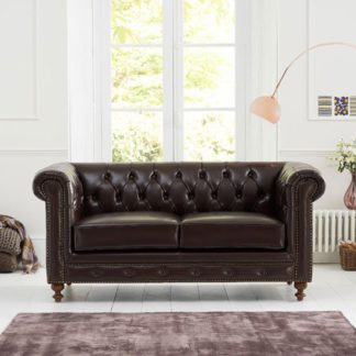 An Image of Mentor 2 Seater Sofa In Brown Leather With Dark Ash Legs