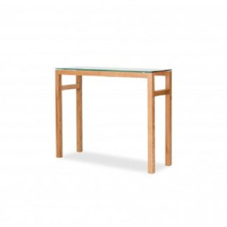 An Image of Tribe Glass Console Table In Clear With Solid White Oak Frame
