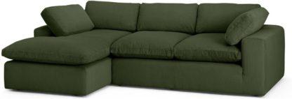 An Image of Samona Left Hand Facing Chaise End Sofa, Sage Corduroy Velvet