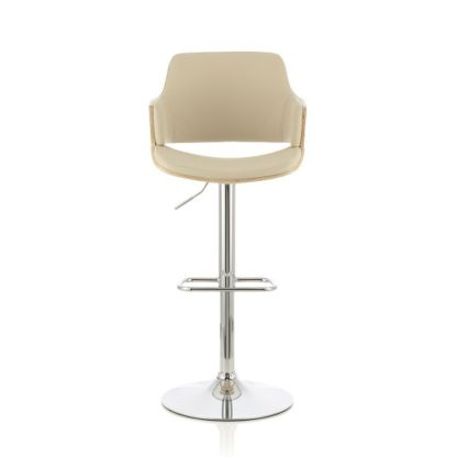 An Image of Finnley Bar Stool In Oak And Cream PU With Chrome Base