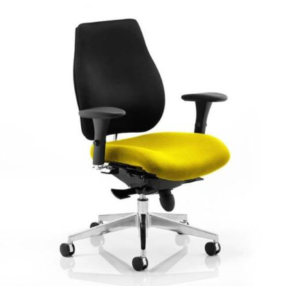 An Image of Chiro Plus Black Back Office Chair With Senna Yellow Seat