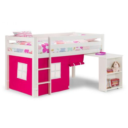 An Image of Wendy Midsleeper Bunk Bed In Surf White With Pink Tent