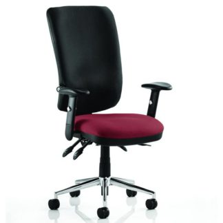 An Image of Chiro High Black Back Office Chair In Ginseng Chilli With Arms