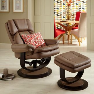 An Image of Cosimo Recliner Chair In Latte Bonded Leather With Footstool