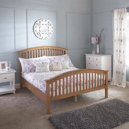 An Image of Madrid Rubberwood Double Bed In Natural Oak