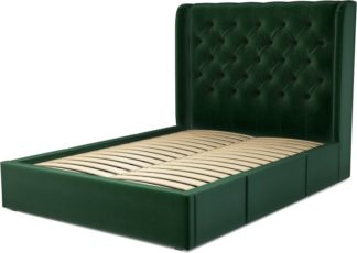 An Image of Custom MADE Romare Double size Bed with Drawers, Bottle Green Velvet