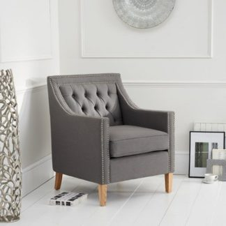 An Image of Bellard Fabric Sofa Chair In Grey With Natural Ash Legs