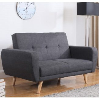 An Image of Durham Fabric Sofa Bed In Grey With Wooden Legs