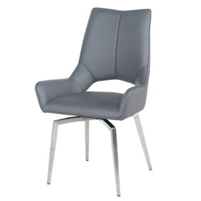 An Image of Halle Swivel Dining Chair In Grey Faux Leather