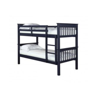 An Image of Leno Solid Navy Blue Finish 2 Tier Bunk Bed