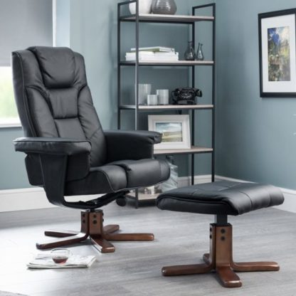 An Image of Malmo Faux Leather Swivel And Recliner Chair In Black