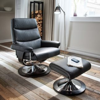 An Image of Graham Reclining Chair With Foot Stool In Black With Chrome Base