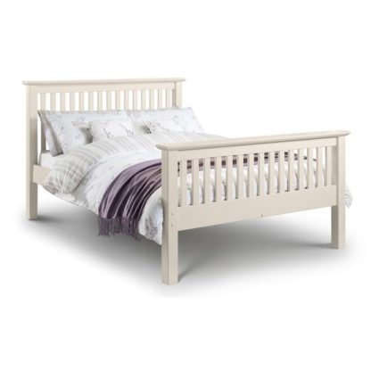 An Image of Velva Wooden King Size High Foot Bed In Stone White