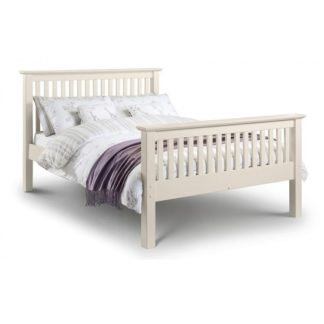 An Image of Velva Wooden Double Size High Foot Bed In Stone White