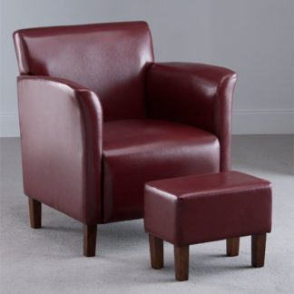 An Image of Berkley Burgundy Faux Leather Armchair with Footstool