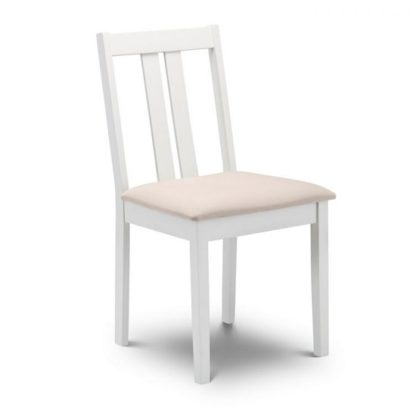 An Image of Kassia Wooden Dining Chair In Ivory Faux Suede Seat