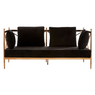 An Image of Kurhah 2 Seater Sofa In Black With Rose Gold Lattice Arms
