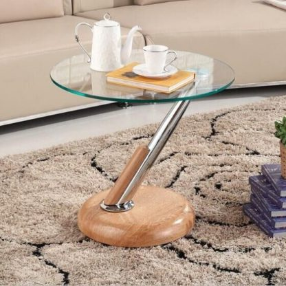 An Image of Tokyo Clear Glass Top Lamp Table In Beech