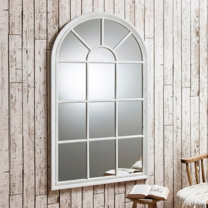 An Image of Fulham Wall Mirror In White With Window Pane Design