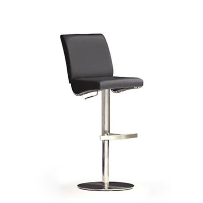 An Image of Diaz Black Bar Stool In Faux Leather With Stainless Steel Base
