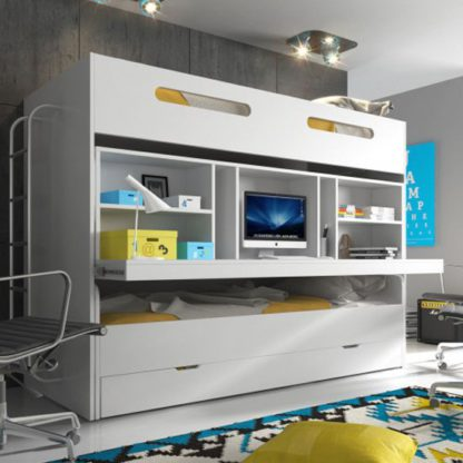 An Image of Musti Wooden Combined Bunk Bed In White