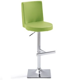 An Image of Twist Bar Stool Green Faux Leather With Square Chrome Base