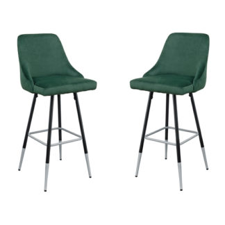 An Image of Fiona Green Fabric Bar Stool In Pair