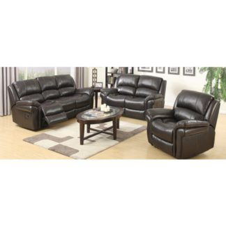 An Image of Lerna Leather 3 Seater Sofa And 2 Seater Sofa Suite In Brown