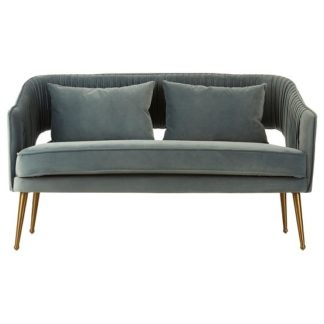 An Image of Agnetas Velvet Two Seater Sofa In Blue With Gold Finish Legs