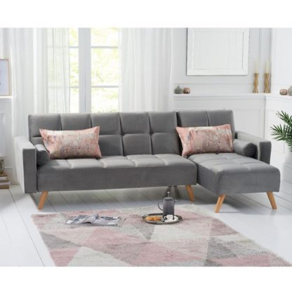 An Image of Headen Velvet Right Hand Facing Chaise In Grey With Wood Legs