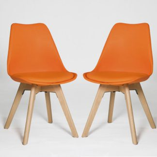 An Image of Regis Dining Chair In Orange With Wooden Legs In A Pair