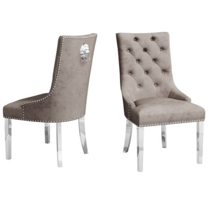 An Image of Donatello Mink Velvet Fabric Dining Chairs In Pair