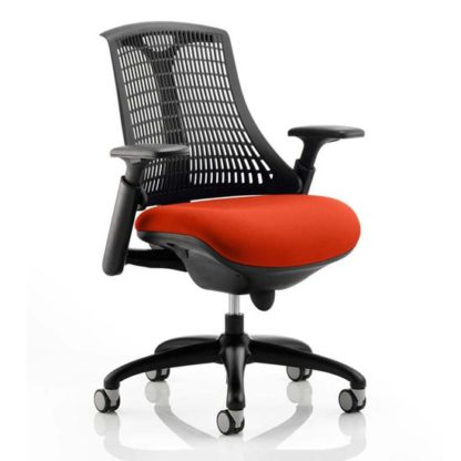 An Image of Flex Task Black Back Office Chair With Tabasco Red Seat