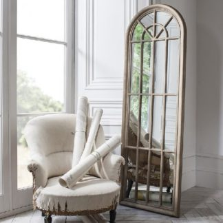 An Image of Leona Floor Mirror In Weathered With Panelled Window Style