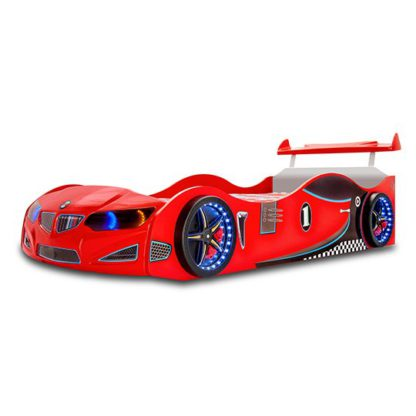 An Image of BMW GTI Childrens Car Bed In Red With Spoiler And LED