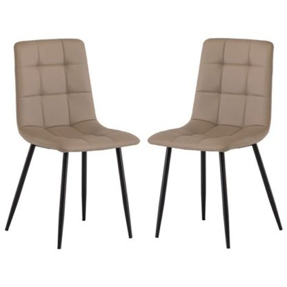 An Image of Manhattan Taupe Leather Dining Chair In A Pair