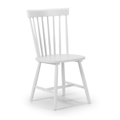 An Image of Snodland Rectangle Wooden Dining Chair In White Lacquer