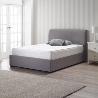 An Image of Newton Storage Double Bed In Grey Linen Fabric