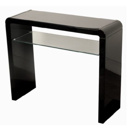 An Image of Norset Medium Console Table In Black Gloss With 1 Glass Shelf