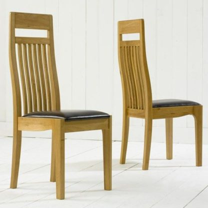 An Image of Pollux Dining Chairs In Pair With Brown Leather Seat