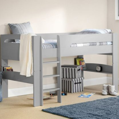An Image of Pluto Wooden Midsleeper Bunk Bed In Dove Grey