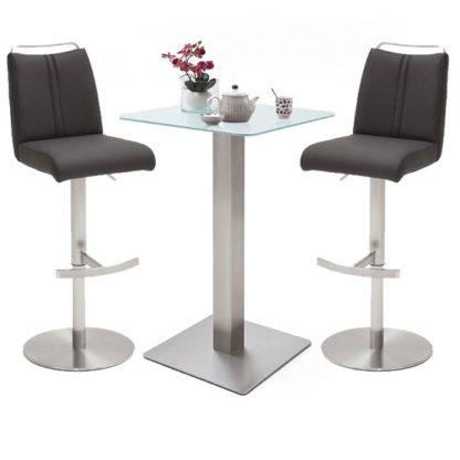 An Image of Soho Glass Bar Table With 2 Giulia Anthracite Leather Stools