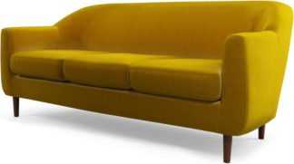 An Image of Custom MADE Tubby 3 Seater Sofa, Saffron Yellow Velvet with Dark Wood Legs